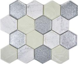Mosaico 3D Big Hexagon marmo vetro Silver