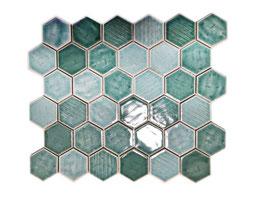 Mosaico Japan HEXAGON VERDE lucido
