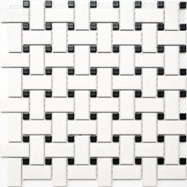 Mosaico PURO RICAMO BIANCO NERO MAT