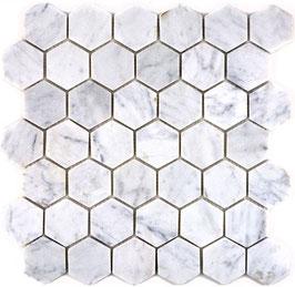 Mosaico Esagono 48mm Bianco Carrara