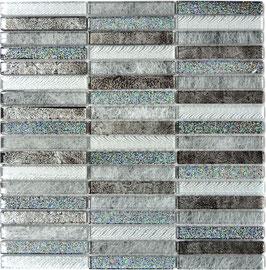 Mosaico Glitter Argento Brick