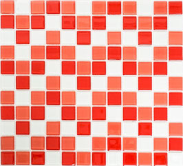 Mosaico CRYSTAL MIX ROSSO BIANCO Vetro lucido