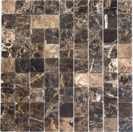 Mosaico Marmo 32mm Impala Brown lucido