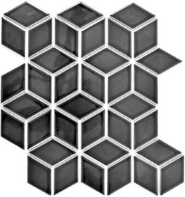 Mosaico Rombo 3D BLACK LUC