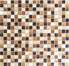 Mosaico Marmo Vetro 15mm Natural Mix Brown