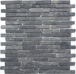 Mosaico Muretto Marmo Nero Marquinia anticato