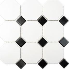 Mosaico Ottagono BIANCO MAT NERO LUC BIG