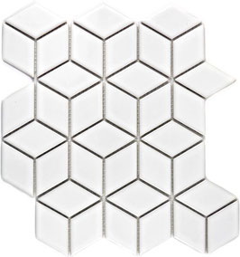 Mosaico Rombo 3D WHITE LUC