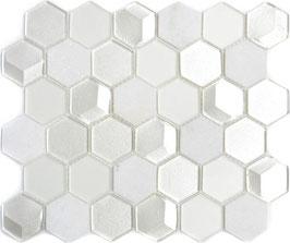 Mosaico 3D Hexagon marmo vetro Bianco