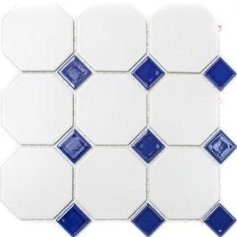 Mosaico Ottagono BIANCO MAT BLU COBALTO LUC BIG