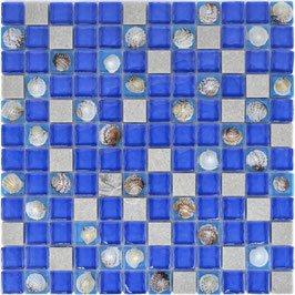 Mosaico vetro marmo 23mm Conchiglia Blu