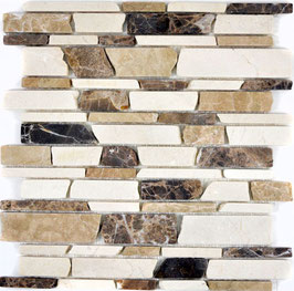 Mosaico Muretto Marmo Biancone Emperador Big anticato