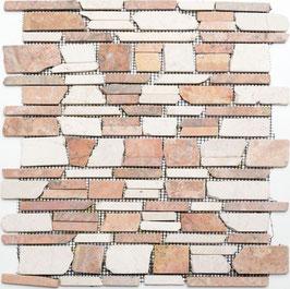 Mosaico Muretto Marmo Biancone Rosso Verona Big anticato