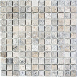 Mosaico Marmo 23mm Travertino Silver anticato