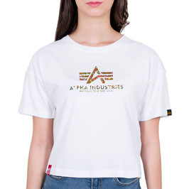 Alpha Industries Basic T COS Hol. Print Wmn, White/Silver Crystal, 116050HP/603