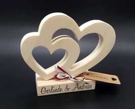 Geschenkidee Zirben Doppel Herz, nicht nur zur Hochzeit!
