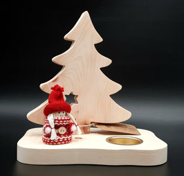 Weihnachtliches Teelicht aus Zirbenholz mit LED Licht