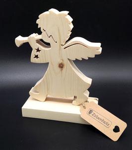 Engel mit Trompete aus Zirben Holz