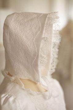 Bonnet baptême bébé Joséphine coton et dentelle