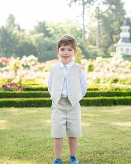 Gilet cérémonie garçon coton beige