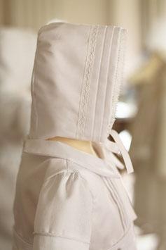 Bonnet baptême bébé Augustin piqué de coton blanc