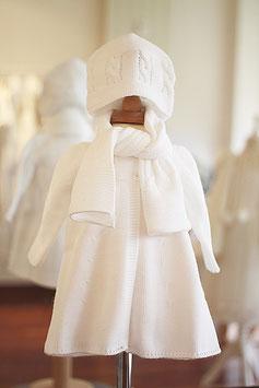 Bonnet et écharpe maille blanche