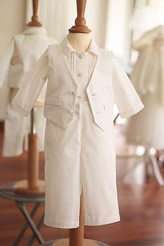 Pantalon baptême garçon coton blanc naturel