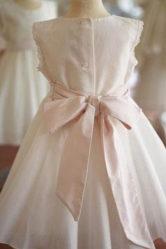 Robe Juliette ceinture rose poudré et dentelle