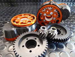 MBS - 10/40 GEAR DRIVE - HELICAL Gears - Support Bearing - Rear Truckextension , RAW or COLOURED
