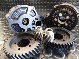 MBS - 8/40 GEAR DRIVE - HELICAL Gears - Support Bearing - Rear Truckextension , RAW or COLOURED