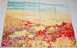 """""""Rood geel landschap"""", tegeltableau 4x3 tegels (15x15), opglazuurtechniek."""