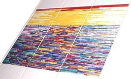 """""""Zonsondergang"""", tegeltableau 3x2 tegels (15x15).  Opglazuurtechniek. De zon in de zee zien zakken."""