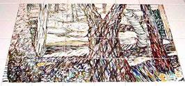"""""""Bos"""" tegeltableau van 6x4 tegels (15x15), opglazuurtechniek. UNIEK, slechts 1 in z'n soort, prachtig stemmig sfeervol beeld in bruinen!"""