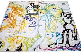 """""""Engelen"""", tegeltableau van 4x4 tegels (wit 15x15), fantasierijke voorstelling om bij weg te dromen."""
