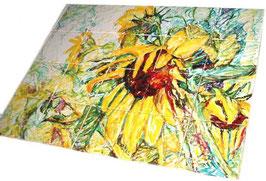 """""""Zonnebloemen"""" tegeltableau van 5x4 tegels (15x15), zeer schilderachtig sfeervol tableau, overal te plaatsen of in te passen in tegelwerk."""