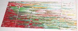 """""""Lijnlandschap"""", 5x3 tegels (15x15), mooi gestyleerd landschap in mooie kleuren. Opglazuurtechniek"""