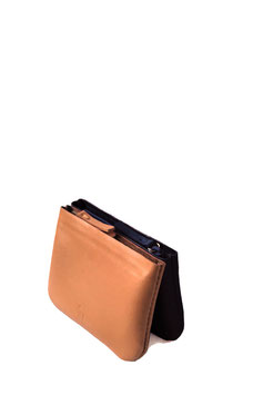 Zip coin purse 'A TUE TÊTE' double black/tan