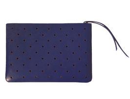 Zip clutch 'À CLAIRE-VOIE' bleu roi M