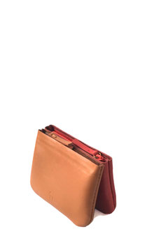 Zip coin purse 'A TUE TÊTE' double tan/red