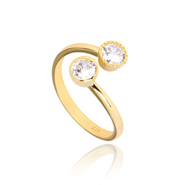 Sterling zilveren ring goldplated met twee cubic zirkonia's