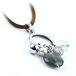 Collier met luxe sterling zilveren hanger met bedels
