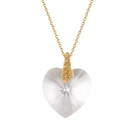 Zilveren collier verguld met Swarovski hart hanger