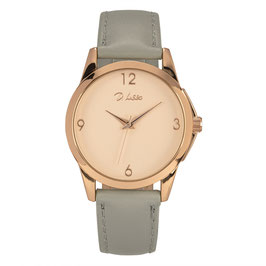 Horloge rosé-goud + grijs