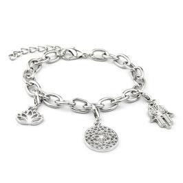 Verzilverde armband met 3 bedels: lotusbloem, chakra, hand van Fatima