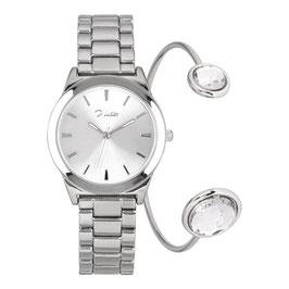 Horloge set zilver met 1 armband