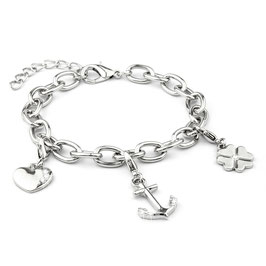 Verzilverde armband met 3 bedels: hart, anker, klavertje 4