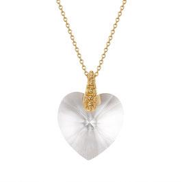 Zilveren collier met Swarvoski hart hanger gold plated