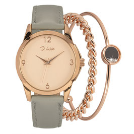 Horloge set rosé-goud met 2 armbanden