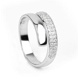 Zilveren multimaat ring cz - rechte band van Di Lusso