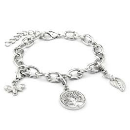 Verzilverde armband met 3 bedels: bij, levensboom, blaadje